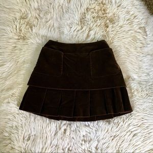 Chanel Vintage Velvet Brown Pleated skirt 36 S